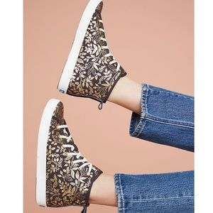 Anthropologie X Keds Paper Co. gold high tops 8